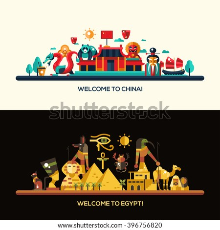 Illustration of flat design Egypt and China travel vector banners set with icons, infographics elements, landmarks and famous Egyptian and Chinese symbols - stock vector