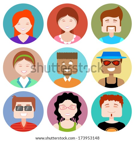 illustration of flat design people icon - stock vector