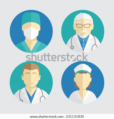 illustration of flat design. people icons collection: doctor and nurse - stock vector