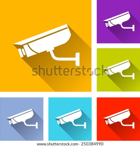 illustration of flat design set icons for video surveillance