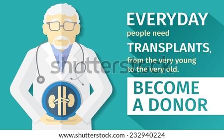 illustration of flat design. transplantation organs. Become a donor. - stock vector