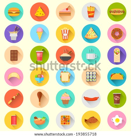 illustration of flat fast food icon - stock vector