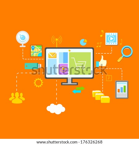 illustration of flat network concept with computer and gadget - stock vector