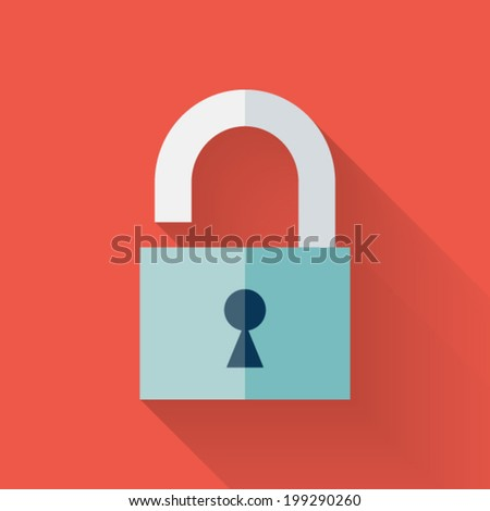 Illustration of Flat open padlock icon over red - stock vector