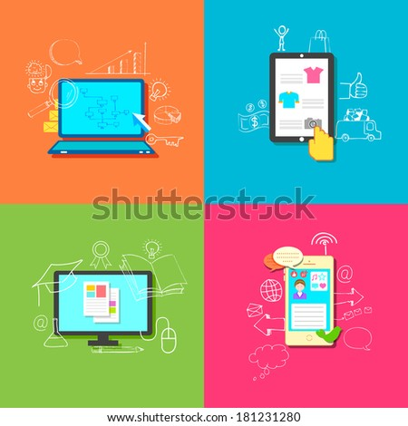 illustration of flat style online education, retail, business and communication - stock vector