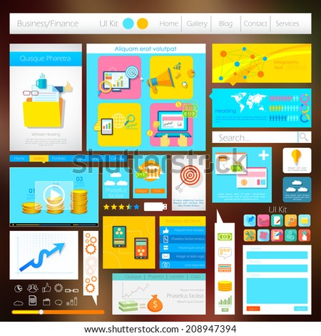 illustration of flat style User Interface Design - stock vector