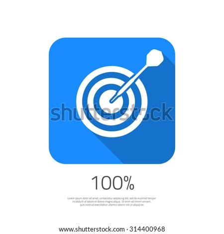 Illustration of Flat Vector Target 100% Hit the Goal Icon with Long Shadow. Dartboard Success bullseye Icon for your Smartphone App - stock vector
