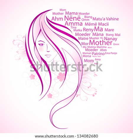 illustration of floral female with mother in different language - stock vector