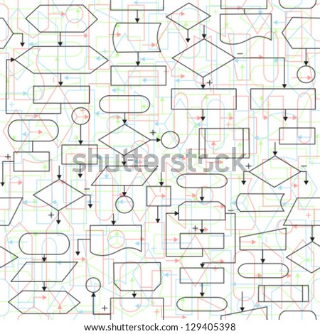 Illustration of flowchart diagrams, seamless pattern background - stock vector