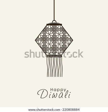 Illustration of flower decorated hanging lamp in black with stylish text.