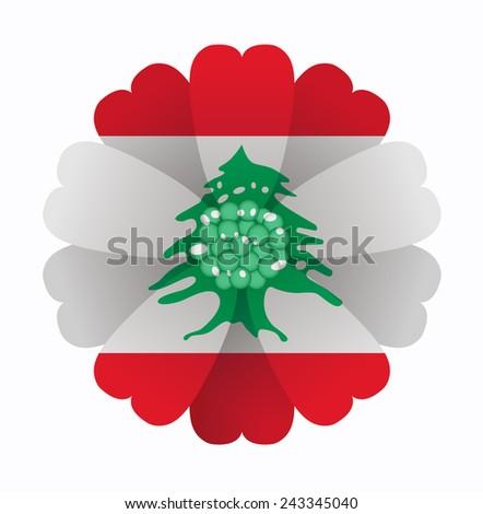 illustration of flower Flag Lebanon - stock vector
