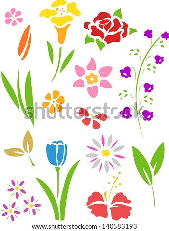 Illustration of Flowers Stencil