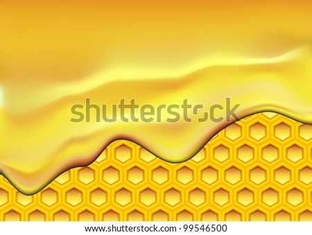 illustration of flowing honey over a honeycomb texture - stock vector