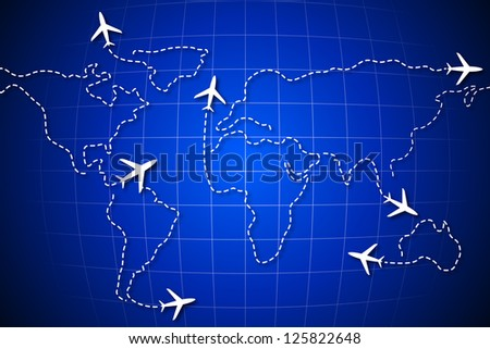 illustration of flying jet drawing world map - stock vector
