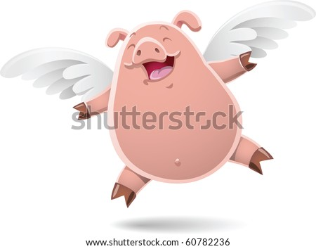 Illustration of flying pig - stock vector