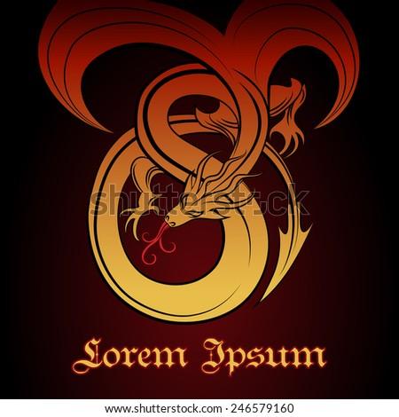 Illustration of flying red dragon. Good for logo design. - stock vector