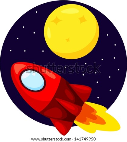 illustration of flying rocket ship in the sky with moon - stock vector