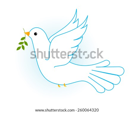 Illustration of flying white pigeon/ dove in blue sky with some olive branches. [Symbol of peace] - stock vector