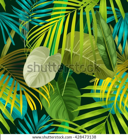 Illustration of foliage seamless pattern - stock vector