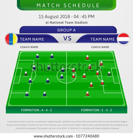 illustration football match schedule template stock vector