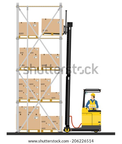 Illustration of forklift operating in the racks. Vector  - stock vector