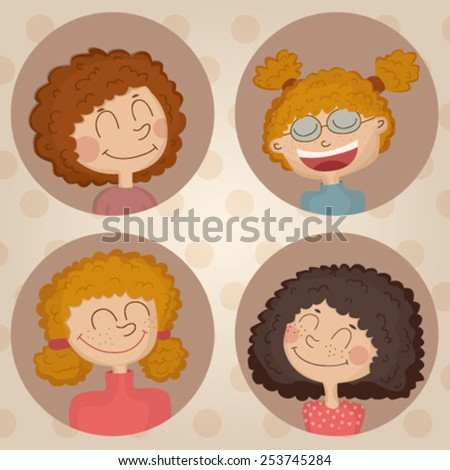 Illustration of four Cartoon girls with curly hair - stock vector