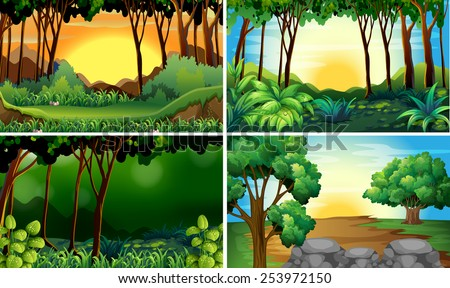 Illustration of four different scene of forests - stock vector