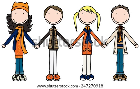Illustration of four kids holding hands in winter clothes - stock vector