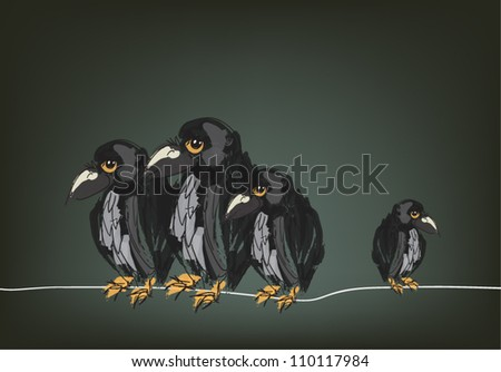 Illustration of four ravens on wire hand drawn, original sketch - stock vector