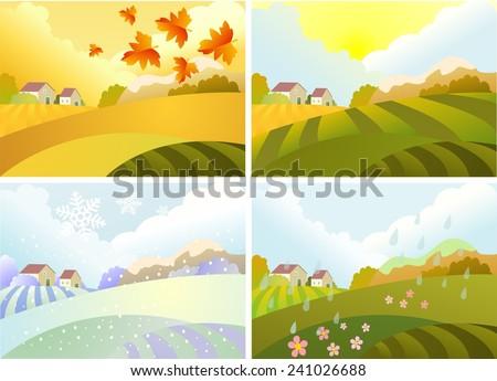 Illustration of four season: winter, spring, summer, autumn - stock vector
