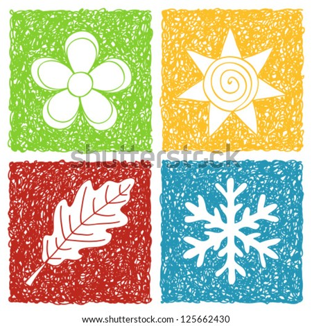 Illustration of four seasons icons - doodle drawings on white background - stock vector