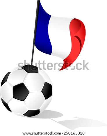 Illustration of France Flag coming out of a soccer ball or football. - stock vector