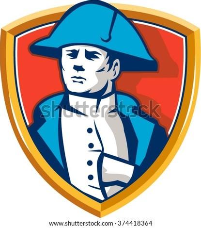 Illustration of French general commander Napoleon Bonaparte wearing bicorne bicorn hat twihorn hat with hand inside coat set inside shield crest done in retro style. - stock vector