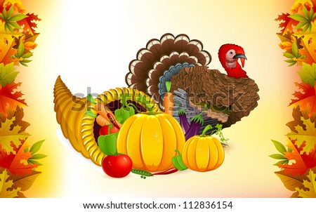 illustration of fruits and vegetable in cornucopia with turkey for Thanksgiving - stock vector