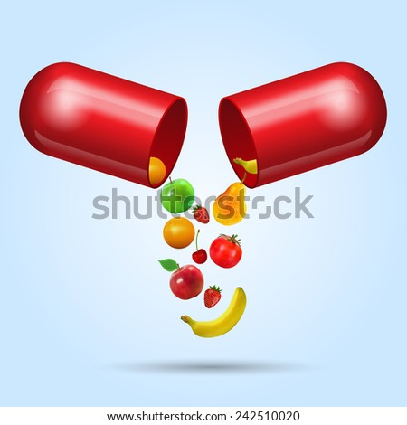 illustration of fruits coming out from vitamin capsule - stock vector