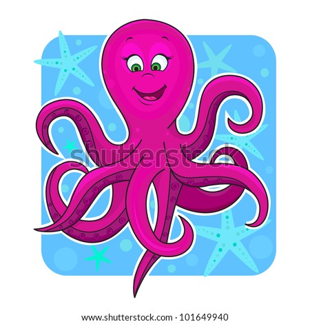 Illustration of fun Cute octopus in the water. - stock vector
