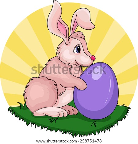 Illustration of funny bunny with big egg on grass - stock vector