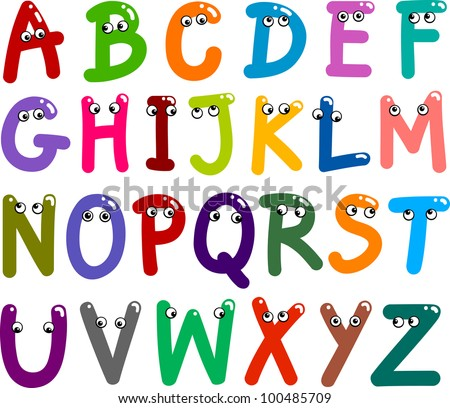 illustration of funny Capital Letters Alphabet for education