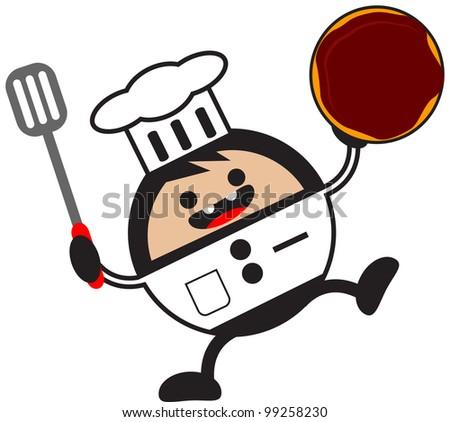 illustration of funny cartoon chef character bring donuts - stock vector