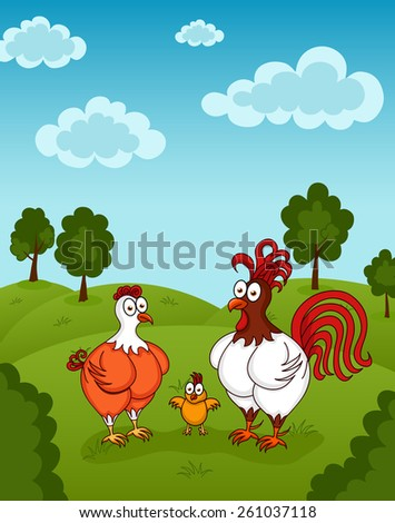 Illustration of funny chickens standing on meadow - stock vector