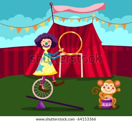 illustration of  funny clown cycling with monkey play drum - stock vector