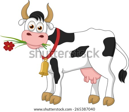 Illustration of funny cow eating grass and flower on white background - stock vector