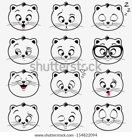 illustration of funny emoticons kittens - stock vector