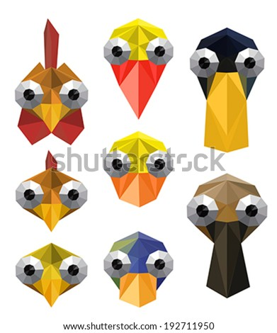 Illustration of funny origami set with farm birds - stock vector