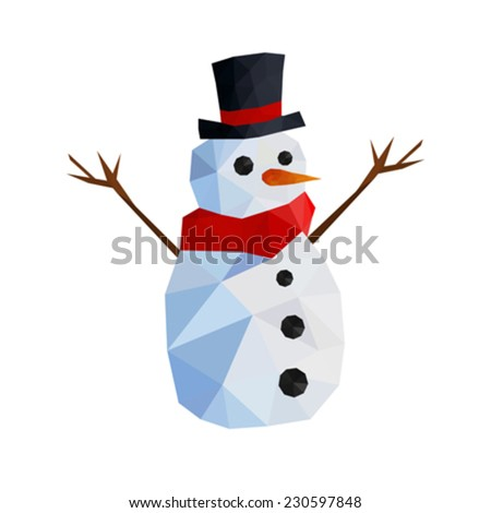 Illustration of funny origami snowman with gentleman hat