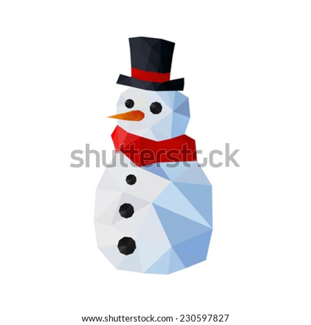 Illustration of funny origami snowman with gentleman hat and red scarf