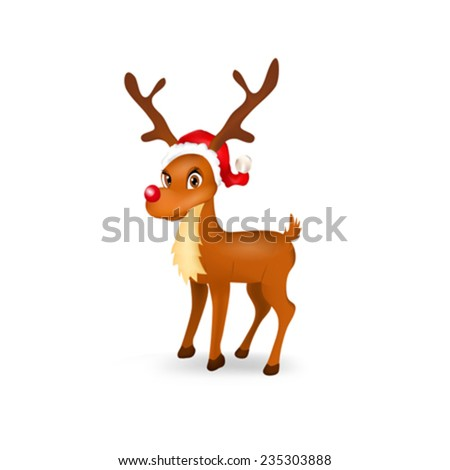Illustration of funny reindeer with santa hat - stock vector