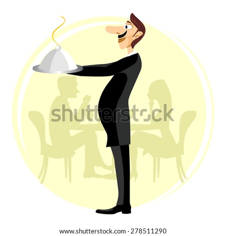 illustration of funny smiling waiter with a big nose and a mustache holding silver serving dome with arms stretched forward - stock vector