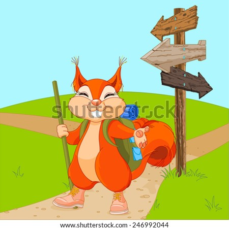 Illustration of funny squirrel for a walk - stock vector