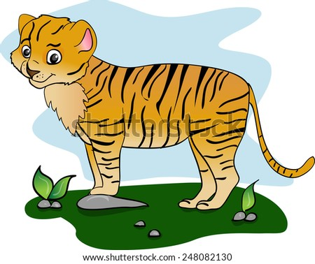 illustration of funny tiger. African animals - stock vector